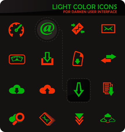 Download easy color vector icons on darken background for user interface design