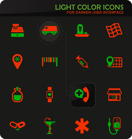 Drug store easy color vector icons on darken background for user interface design