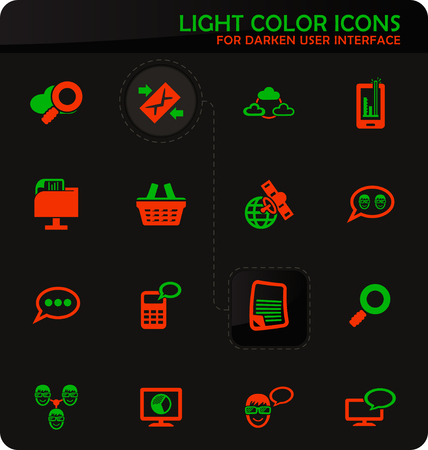 Data analytic and social network easy color vector icons on darken background for user interface design