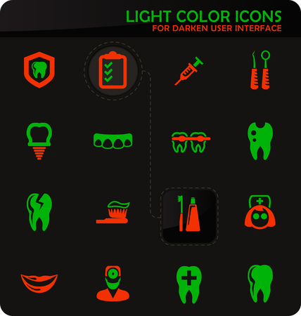 Dental easy color vector icons on darken background for user interface design