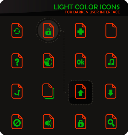 Documents easy color vector icons on darken background for user interface design Çizim