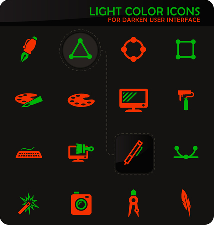 Design easy color vector icons on darken background for user interface design
