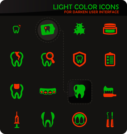 Dental easy color vector icons on darken background for user interface design