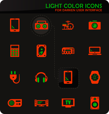 Devices easy color vector icons on darken background for user interface design 向量圖像
