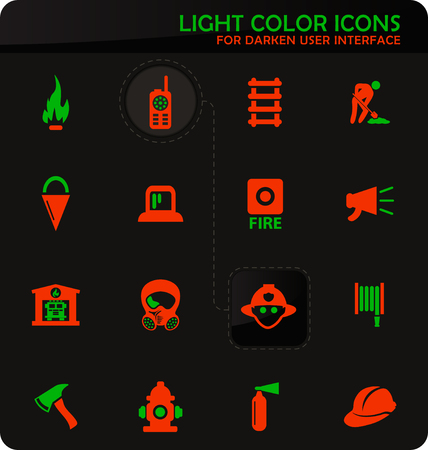 Fire-brigade easy color vector icons on darken background for user interface design