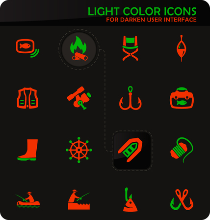 Fishing easy color vector icons on darken background for user interface design
