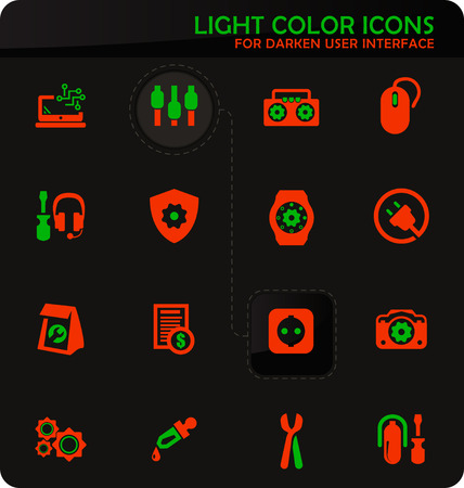 Electronic repair easy color vector icons on darken background for user interface design  イラスト・ベクター素材