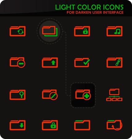 Folder easy color vector icons on darken background for user interface design