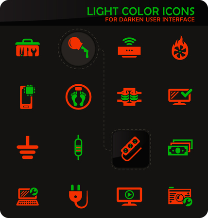 Electronic repair easy color vector icons on darken background for user interface design Иллюстрация
