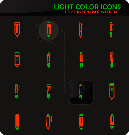 Edit easy color vector icons on darken background for user interface design
