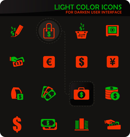 E-commers easy color vector icons on darken background for user interface design