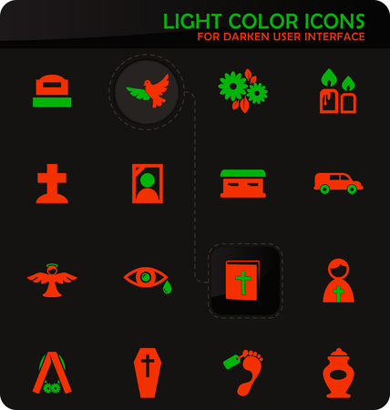Funeral service easy color vector icons on darken background for user interface design