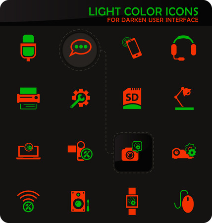 Electronics repair easy color vector icons on darken background for user interface design