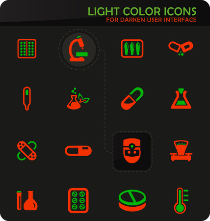 Faculty of biology easy color vector icons on darken background for user interface design