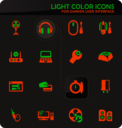 Electronic repair easy color vector icons on darken background for user interface design