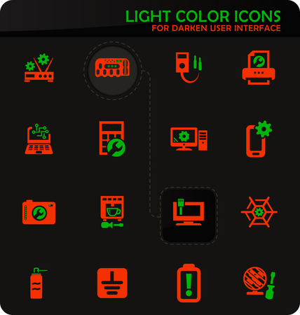 Electronic repair easy color vector icons on darken background for user interface design Illustration