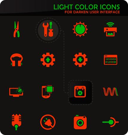 Electronics repair easy color vector icons on darken background for user interface design Vektoros illusztráció