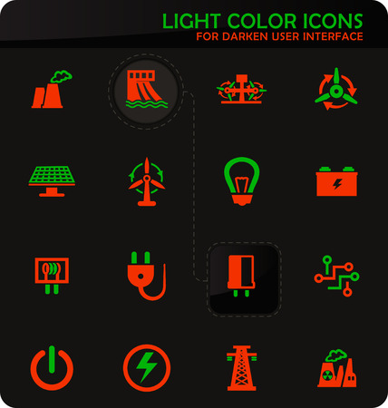 Electricity easy color vector icons on darken background for user interface design Illustration