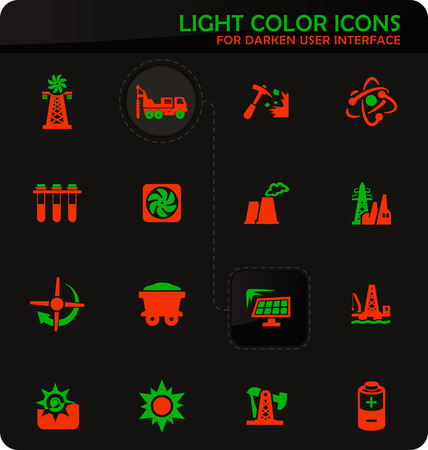 Fuel Power generation easy color vector icons on darken background for user interface design