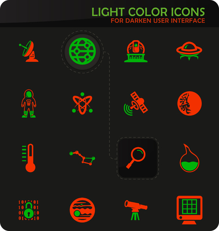 Faculty of astronomy easy color vector icons on darken background for user interface design