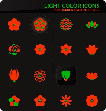 Flower easy color vector icons on darken background for user interface design  イラスト・ベクター素材