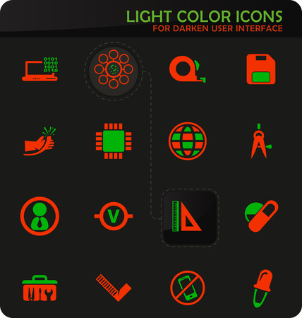 Faculty of mechanics easy color vector icons on darken background for user interface design
