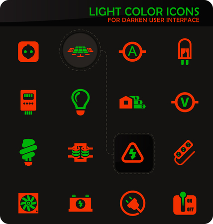 Electricity easy color vector icons on darken background for user interface design