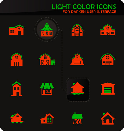 Farm building easy color vector icons on darken background for user interface design