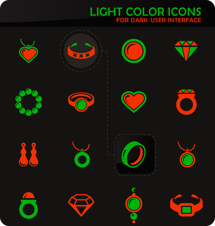 Jewelry easy color vector icons on dark background for user interface design Illustration