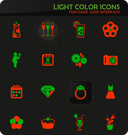Womens Day easy color vector icons on dark background for user interface design Illustration