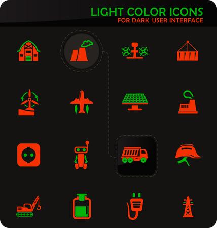 Industry vector easy color vector icons on dark background for user interface design Standard-Bild - 124841112