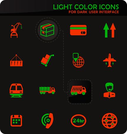 Logistic easy color vector icons on dark background for user interface design Standard-Bild - 124841113