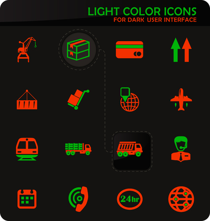 Logistic easy color vector icons on dark background for user interface design Illustration