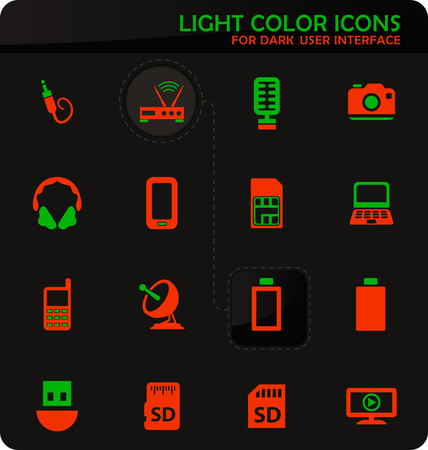 Hi tech easy color vector icons on dark background for user interface design Ilustração