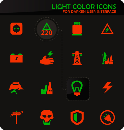 High voltage easy color vector icons on dark background for user interface design Illustration