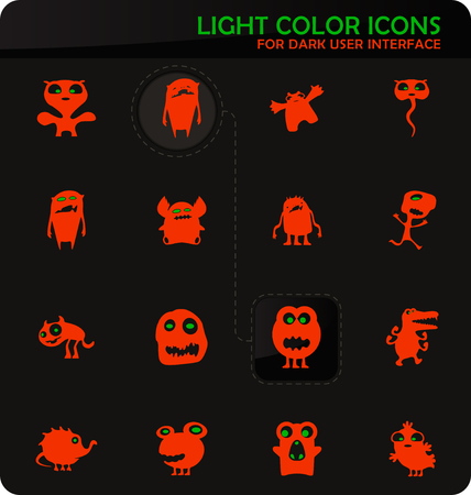 Monster easy color vector icons on dark background for user interface design
