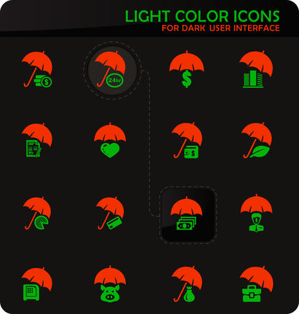 Insurance easy color vector icons on dark background for user interface design Illusztráció