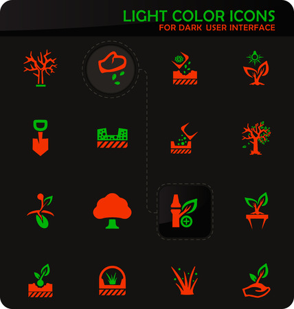 Gardening easy color vector icons on dark background for user interface design