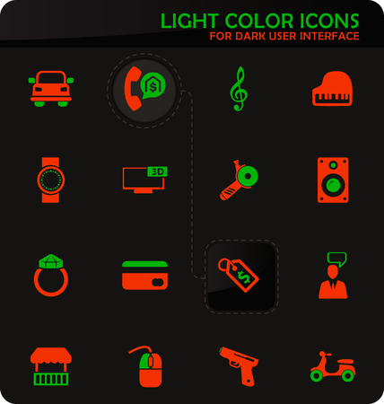 Pawnshop easy color vector icons on dark background for user interface design Illusztráció