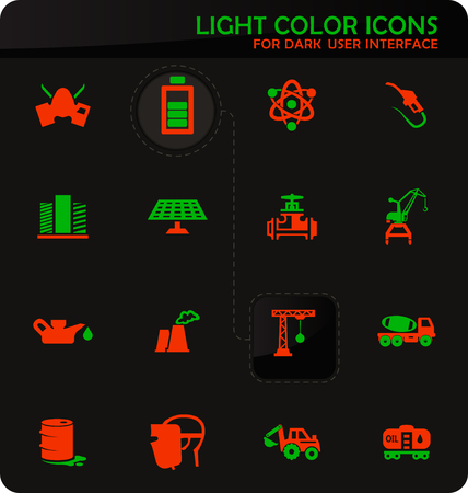 Industry vector easy color vector icons on dark background for user interface design