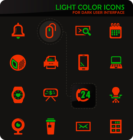 Office easy color vector icons on dark background for user interface design