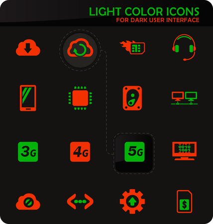 Mobile connection easy color vector icons on dark background for user interface design