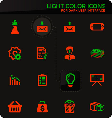 Marketing easy color vector icons on dark background for user interface design