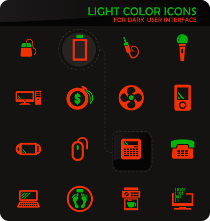 Home appliances easy color vector icons on dark background for user interface design