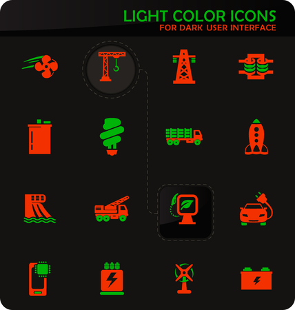Industry vector easy color vector icons on dark background for user interface design Standard-Bild - 124841152