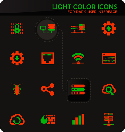 Hosting provider easy color vector icons on dark background for user interface design