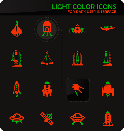 Space platform easy color vector icons on dark background for user interface design