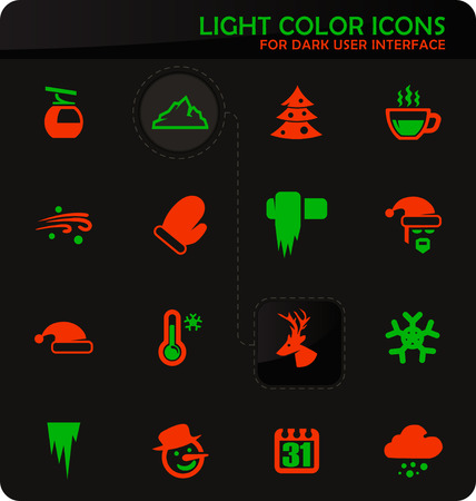 Winter easy color vector icons on dark background for user interface design Illustration