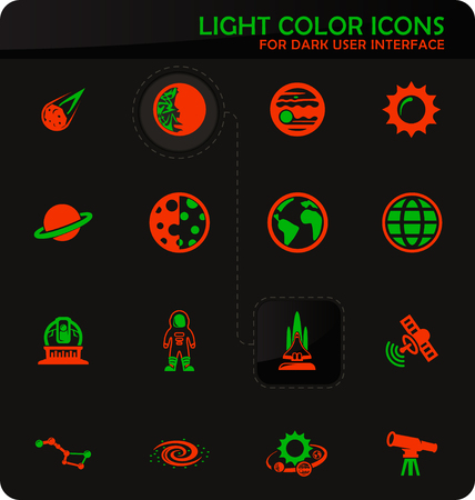 Space easy color vector icons on dark background for user interface design