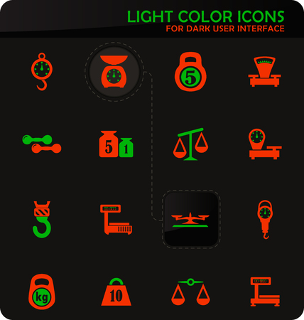 Scales easy color vector icons on dark background for user interface design
